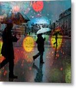 Rainy City Scene Metal Print