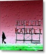 Rainy Day At The Market Metal Print