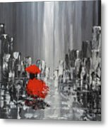 Rainy Day City Girl In Red Metal Print