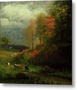 Rainy Day In Autumn Metal Print by Albert Bierstadt