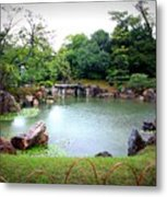 Rainy Day In Kyoto Palace Garden Metal Print