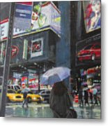 Rainy Day In Times Square Metal Print