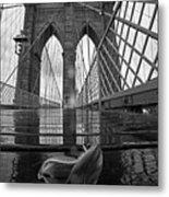 Rainy Day On The Brooklyn Bridge Brooklyn New York Tulip Petals Black And White Metal Print