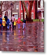 Rainy Day Rainbow - Children At Independence Square Metal Print