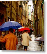 Rainy Day Shopping In Italy Metal Print