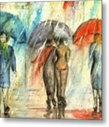 Rainy Day With Umbrellas Metal Print