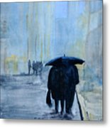 Rainy Evening Walk. Metal Print