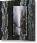 Rainy Street Layered Metal Print
