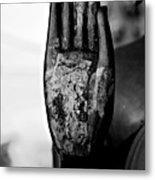 Raised Buddha Hand - Black And White Metal Print