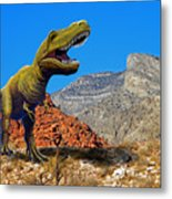 Rajasaurus In The Desert Metal Print