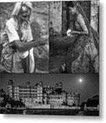Rajasthan Collage Bw Metal Print