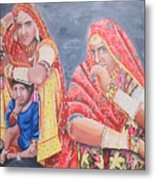 Rajasthani Ladies With Traditional Jewelry Metal Print