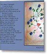 Rambling Rose Blues - Poetry In Art Metal Print