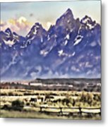 Ranch In Style Of A Watercolor Metal Print