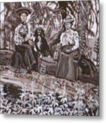 Ranch Women Picking Berries Historical Vignette Metal Print