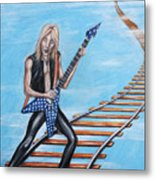 Randy Rhoads On The Tracks Of The Crazy Train Metal Print