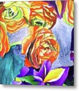 Ranunculus And Iris Metal Print