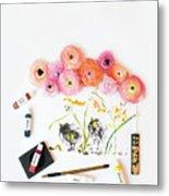 Ranunculus With First Watercolor Metal Print
