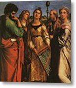 Raphael St Cecilia With Sts Paul John Evangelists Augustine And Mary Magdalene Metal Print