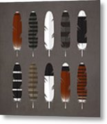 Raptor Feathers - Square Metal Print by Peter Green