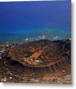 Rare Aerial View Of Extinct Volcanic Crater In Hawaii.  Metal Print