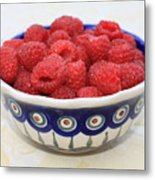 Raspberries In Polish Pottery Bowl  Metal Print