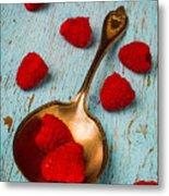Raspberries With Antique Spoon Metal Print
