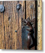 Rattlesnake Door Handle Mission San Xavier Del Bac Metal Print by Thomas R Fletcher