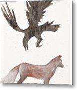 Raven And Old Fox Metal Print