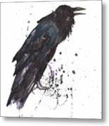 Raven  Black Bird Gothic Art Metal Print by Alison Fennell