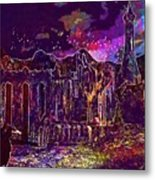 Raven Castle Ruin Trees Sky  Metal Print
