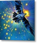 Raven First Bird Metal Print