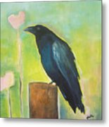 Raven In The Garden Metal Print