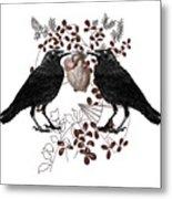 Ravens And Anatomical Heart Metal Print