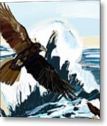 Ravens And The Stormy Sea Metal Print
