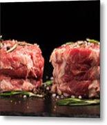 Raw Steak Meat On The Dark Surface Metal Print