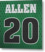 Ray Allen Boston Celtics Retro Vintage Jersey Closeup Graphic Design Metal Print