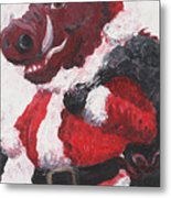 Razorback Santa Metal Print