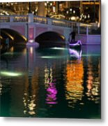 Razzle Dazzle - Colorful Neon Lights Up Canals And Gondolas At The Venetian Las Vegas Metal Print