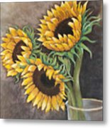 Reaching Sunflowers Metal Print
