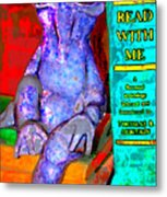 Read With Me Frog Metal Print