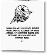 Readers Digest, 1922 Metal Print
