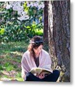 Reading Beneath The Cherry Blossoms Metal Print