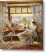 Reading By The Window Metal Print