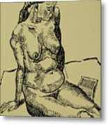 Reading Naked Woman Metal Print