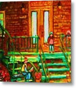 Reading On The Steps Metal Print