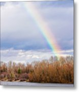 Real Rainbow Over The River Metal Print