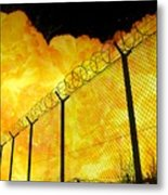 Realistic Fiery Explosion Behind Restricted Area Barbed Wire Fence Metal Print