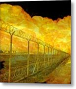 Realistic Orange Fire Explosion Behind Restricted Area Barbed Wire Fence Metal Print