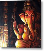 Portrait Of Lord Ganapathy Ganesha Metal Print